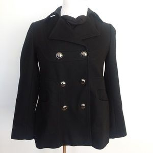 VIA SPIGA EUC black WOOL BLEND PEA COAT SIZE 6